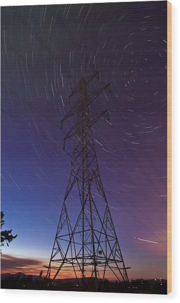 Power Line And Star Trails Wood Print