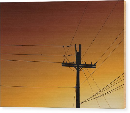Power Line Sunset Wood Print