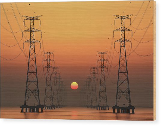 Power Line Wood Print