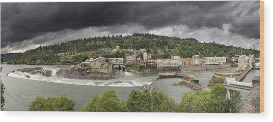 Power Plant At Willamette Falls Lock Wood Print
