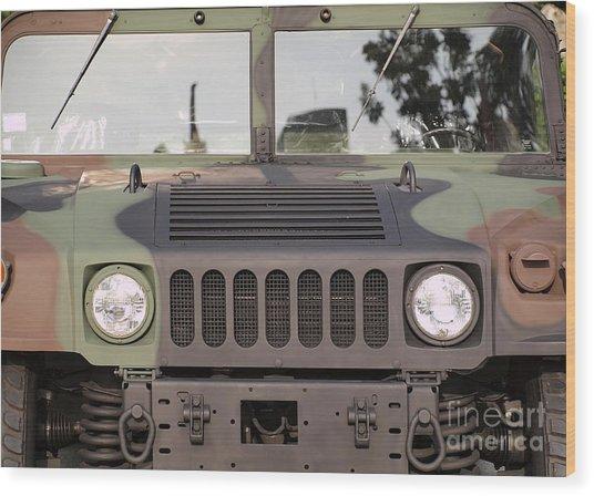 Powerful Army Off Road Vehicle Wood Print