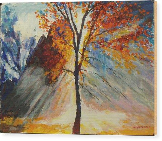 Powerful Morning Rays Wood Print