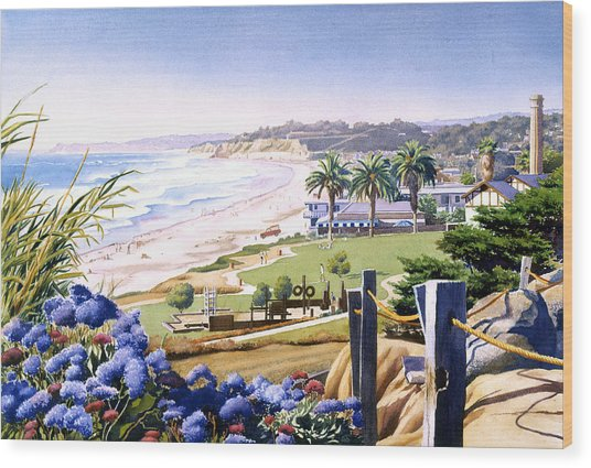 Powerhouse Beach Del Mar Blue Wood Print