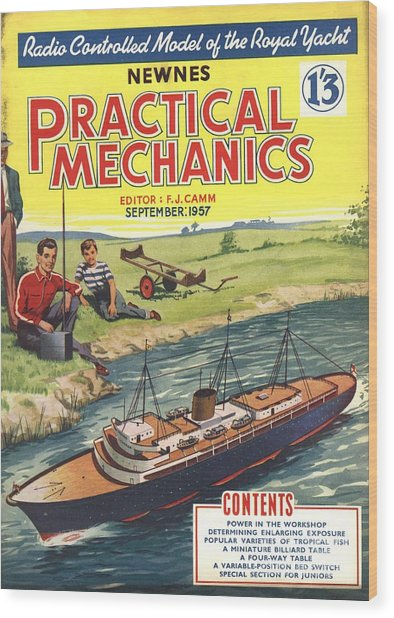 Practical Mechanics 1950s Uk Diy Boats Wood Print by The Advertising Archives