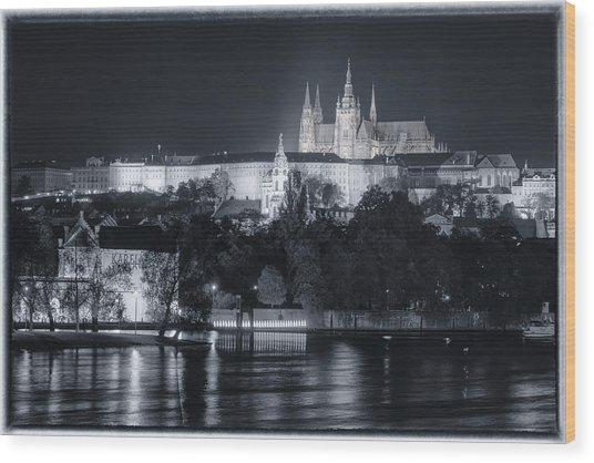 Prague Castle At Night Wood Print