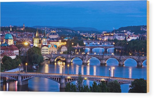 Prague Cityscape At Night Wood Print