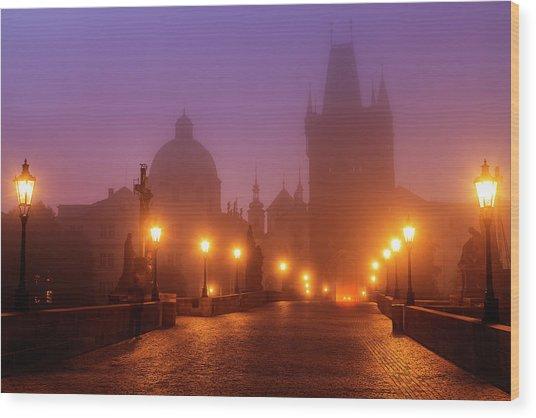 Prague, Czech Republic, Charles Bridge Wood Print by B&m Noskowski