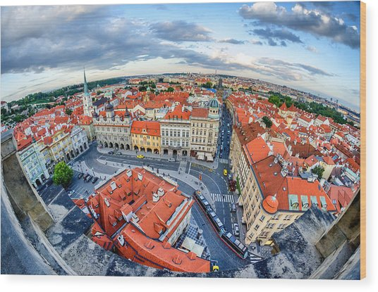 Prague From Above Wood Print