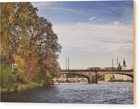 Prague From Vltava Wood Print by Jelena Jovanovic