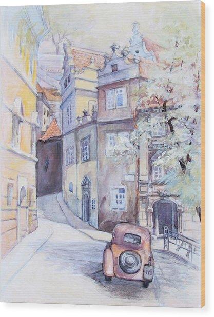 Prague Golden Well Lane Wood Print