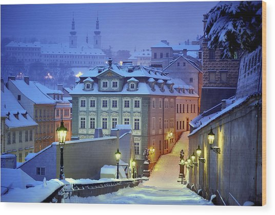 Prague In White Wood Print