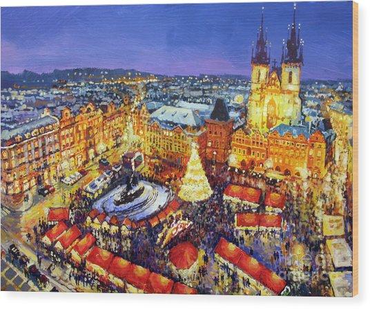 Prague Old Town Square Christmas Market 2014 Wood Print