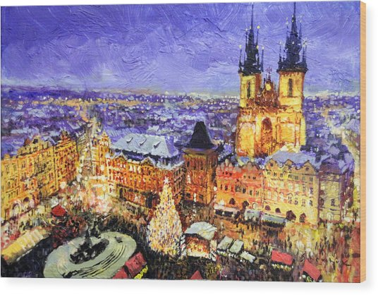 Prague Old Town Square Christmas Market Wood Print