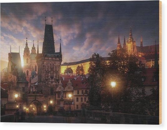 Prague Sun. Wood Print by Juan Pablo De