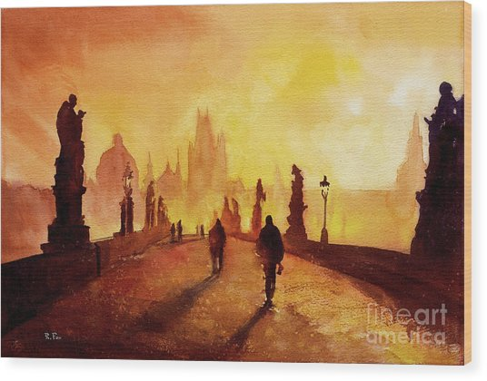 Prague Sunrise Wood Print