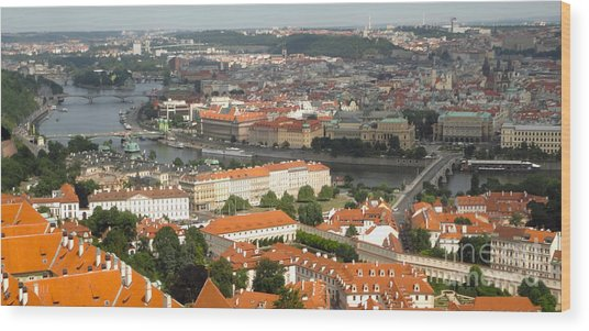 Prague - View From Castle Tower - 02 Wood Print by Gregory Dyer