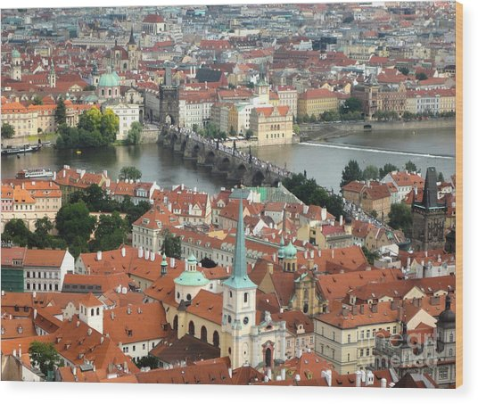 Prague - View From Castle Tower - 03 Wood Print by Gregory Dyer