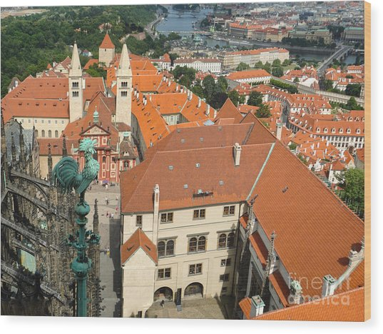 Prague - View From Castle Tower - 04 Wood Print by Gregory Dyer
