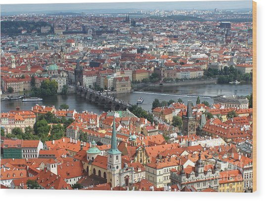 Prague - View From Castle Tower - 05 Wood Print by Gregory Dyer