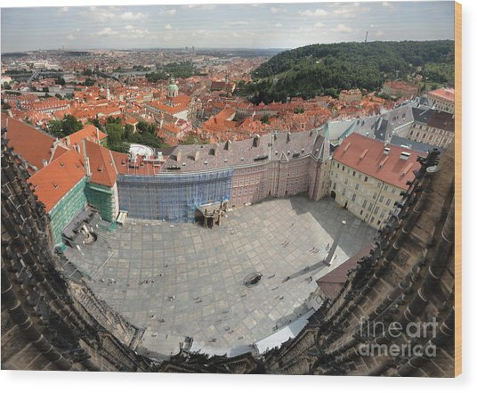 Prague - View From Castle Tower - 08 Wood Print by Gregory Dyer