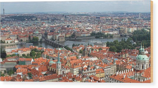 Prague - View From Castle Tower - 09 Wood Print by Gregory Dyer
