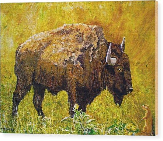 Prairie Companions Wood Print by Michael Durst