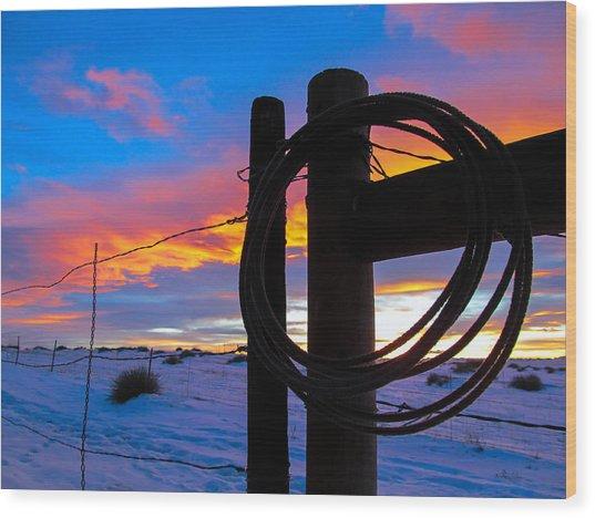Prairie Fence Sunset Wood Print