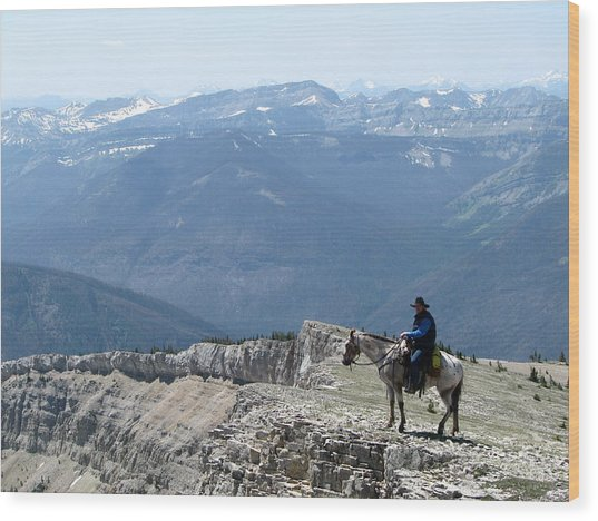 Prairie Reef View With Horse And Rider Wood Print