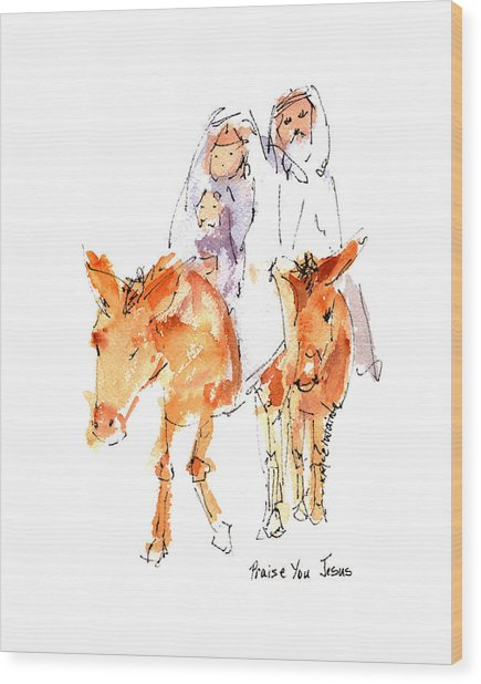 Praise You Jesus Watercolor Painting By Kmcelwaine Wood Print