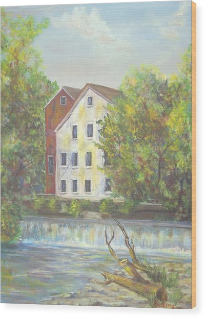 Prallsville Mill From Waterfall Wood Print