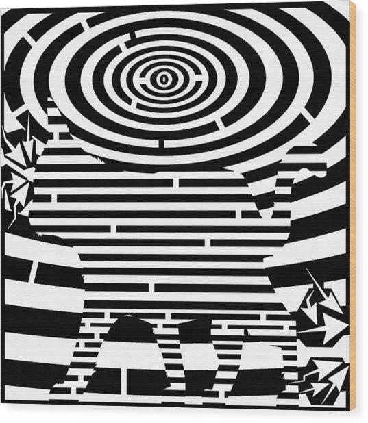 Prancing Kitty Cat Maze Wood Print by Yonatan Frimer Maze Artist