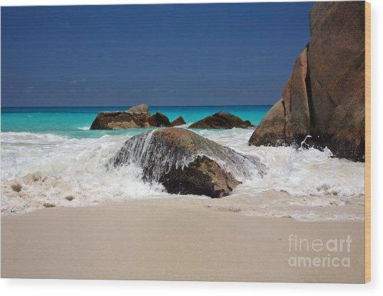 Praslin Island Waves Wood Print