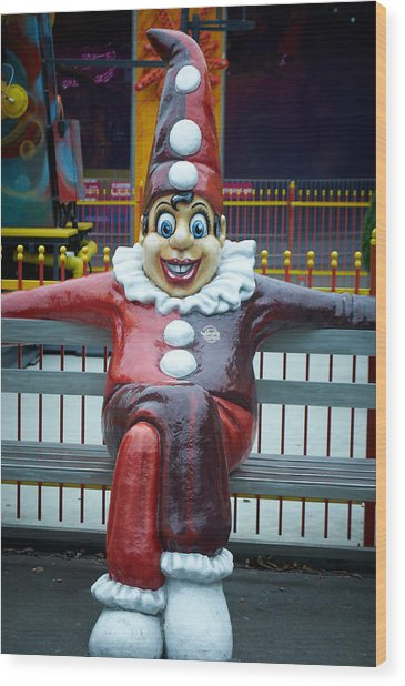 Prater  Clown Wood Print