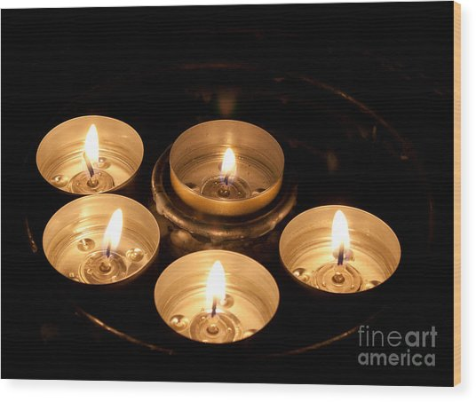 Prayer Candles In Notre Dame Wood Print