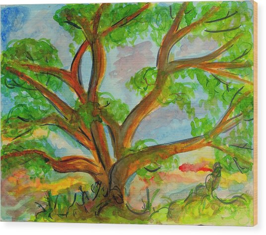 Prayer Mountain Tree Wood Print
