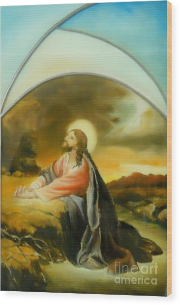Prayer Of Jesus Wood Print