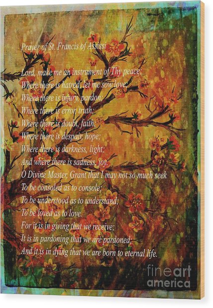 Prayer Of St. Francis Of Assisi  And Cherry Blossoms Wood Print