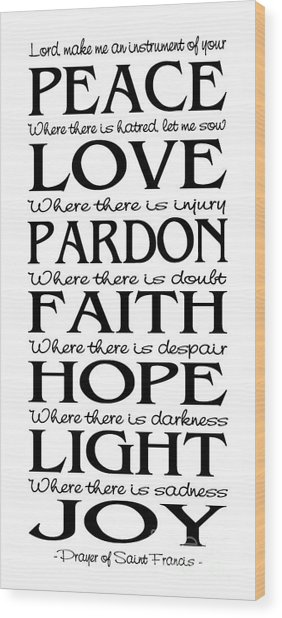 Prayer Of St Francis - Pope Francis Prayer - Subway Style Wood Print