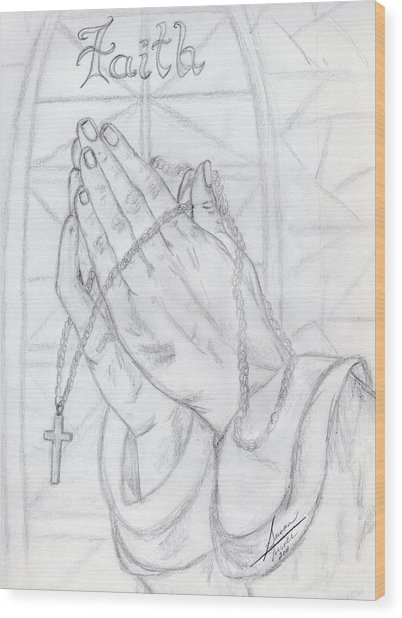 Praying Hands Wood Print