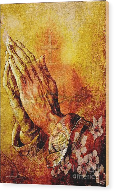 Praying Hands With Sacred Heart Wood Print
