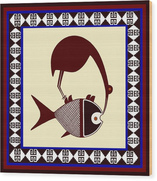 Pre-columbian Stork Fish Wood Print