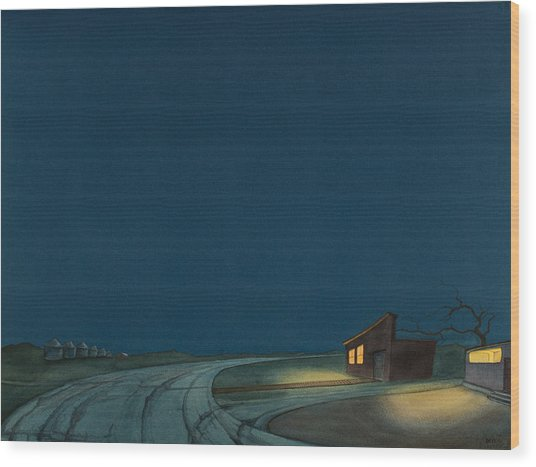 Wood Print featuring the painting Pre-dawn On The Hi-line I by Scott Kirby