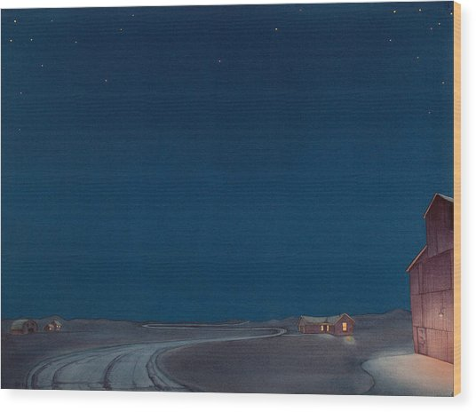 Pre-dawn On The Hi Line II Wood Print