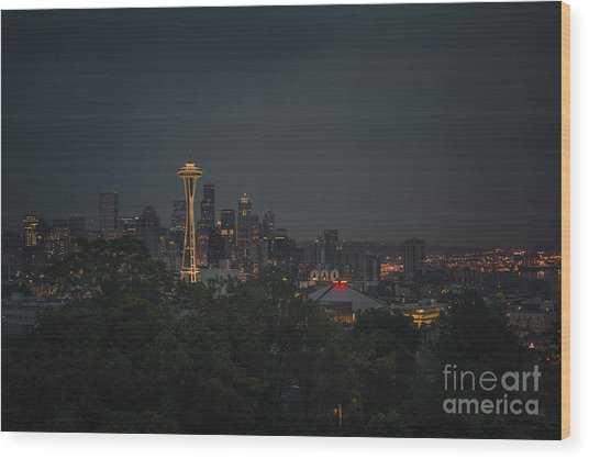 Pre-dawn Seattle Wood Print