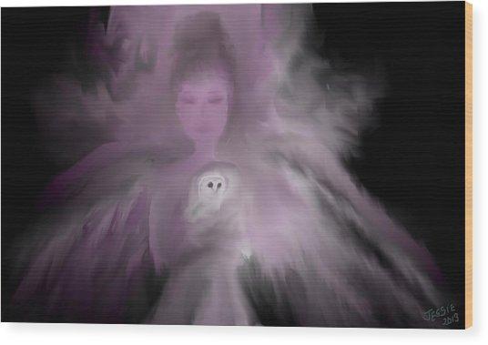 Precious Owl Angel Wood Print