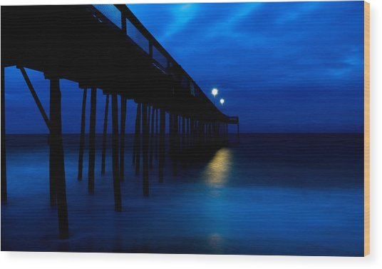Predawn Blue Beneath Pier Wood Print