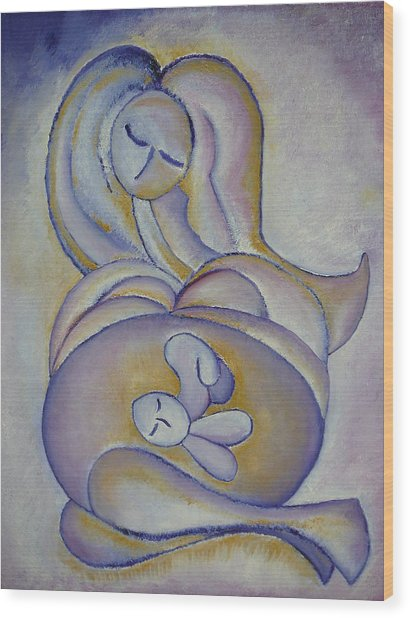Pregnancy Oil Painting In The Belly Original By Gioia Albano Wood Print