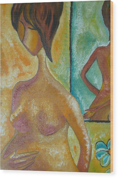Pregnancy Oil Painting Waiting For You Original By Gioia Albano Wood Print