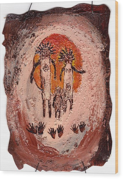 Prehistoric Family Wood Print
