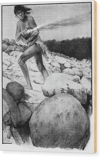 Prehistoric Man With Fire Wood Print by Cci Archives